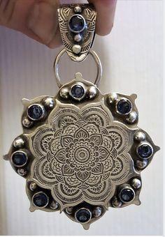 Student work from FLOWER POWER Mandala online class Silver Necklaces, Silver Rings, Beaded Bracelets, Diy Jewelry, Jewelry Design, Jewelry Ideas, Jewellery, Diamond Rings, Metal Working