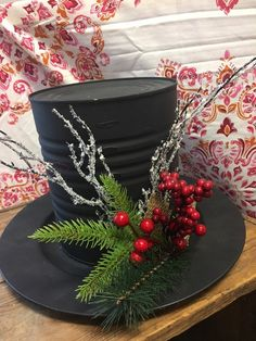 Handmade snowman hat centerpiece for holiday decorating Christmas Hat, Christmas Tree Toppers, Simple Christmas, Christmas Crafts, Christmas Ideas, Christmas Things, Christmas Inspiration, Easy Christmas Decorations, Christmas Centerpieces