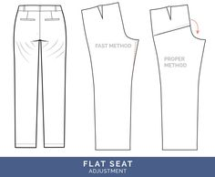 Sewing Clothes Patterns Flat seat Adjustment // Pants Fitting Adjustments // Closet Case Patterns - The best tips for pants fitting! Get our in-depth instructions to diagnose and correct 16 common pants fitting adjustments Altering Pants, Altering Clothes, Sewing Pants, Sewing Clothes, Doll Clothes, Clothing Patterns, Sewing Patterns, Shirt Patterns, Dress Patterns