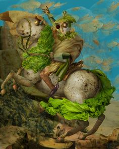 'The Vegetable Museum', famous paintings recreated with vegetables, by Chinese artist Ju Duoqi: Napoleon on Potatos. Inspired by Jacques-Louis David's Napoleon Crossing the Alps. http://juduoqi.com/serice_museum.html