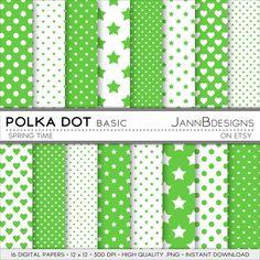 Spring Time POLKA DOT  BASIC Digital Paper Pack  by JAnnBdesigns