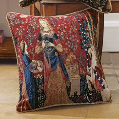 Buy Lady & Unicorn 'Smell' Cushion from Museum Selection. Mahogany Furniture, Cushions, Luxurious Bedrooms, Tapestry Cushion, Tapestry, Forest Tapestry, Buying Furniture, Linen Bedding, Throw Pillows