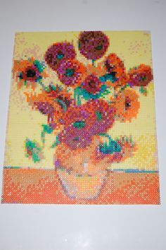 van gogh sunflowers perler bead art made by me - amanda wasend