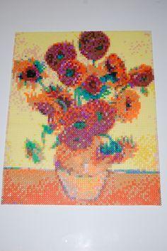 van gogh sunflowers perler bead art made by me - amanda wasend