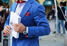 / blue blazer+ red pocket square /