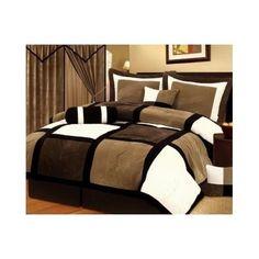 Micro Suede Queen Patchwork 7 Piece Comforter Bedroom Blanket Black Brown White #ChezmoiCollection #Patchwork