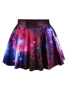 Womens Fashion Rockability Galaxy Digital Print Skirt Skater Bottom Short Skirt