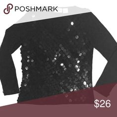 ONCE 1 AGAIN Black Sequin V Neck Sweater This is a great sweater especially for the holidays! It can be dressed up or down. Worn with satin or jeans and look fabulous! The front is covered in large black hand sewn sequins. The sleeves have a single row of sequins at the wrist. The sewer has a lot of stretch. This item has never been worn. NWOT Once 1 Again Sweaters V-Necks