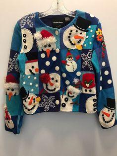 Michael Simon M Christmas Snowman Beaded Sequin Sweater Cardigan Crochet  Circle  57edf5c6e