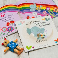 Welcome To The World Personalised New Baby book features an adorable little elephant character who experiences, enjoys and shows the wonderful things that the world has to offer. All the things that a new baby has yet to see, such as animals large and small, flowers, oceans, mountains, colour, and the joy of laughter, love and wonder. The perfect gift for a new arrival!