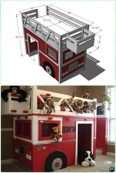 diy fire truck bed playhouse kids bunk bed free plans