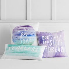 Surf Vibe Live for Today Pillow Cover A beachy headline pops against our surf-inspired cotton-canvas pillow cover. Plus, sequin accents add a chic shimmering touch to your space.