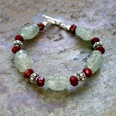 Ethnic Luxe Gemstone Bracelet Carved Prehnite Ruby Quartz by Foret