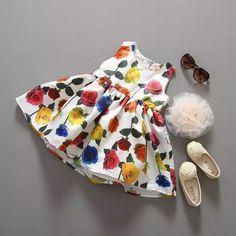 girl dress Silk floral printed sleeveless pricess dress summer  party dress