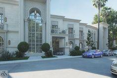 Arabic Villa on Behance Islamic Architecture, Classical Architecture, Architecture Design, Villa Design, House Design, Map Design, Home Interior Design, Exterior Design, House Outside Design