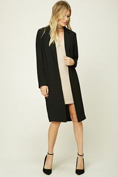 Forever 21 Contemporary - A woven coat featuring a longline silhouette, open-front, notched lapels, on-seam pockets, and long sleeves. Fall Winter Outfits, Autumn Winter Fashion, Winter Style, Anniversary Outfit, Forever 21, Shirt Bluse, Bikini, Jacket Style, Latest Trends
