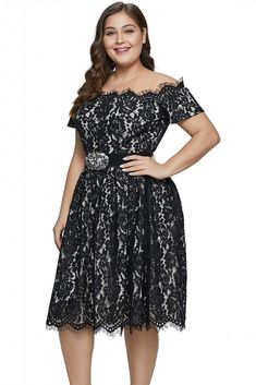 be739335cf2 US  14.93-Black Short Sleeve Off-shoulder Lace Plus Size Dress Dropshipping  Plus