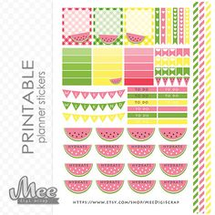 Pink watermelon DIY planner stickersprintable life par MeeDigiScrap