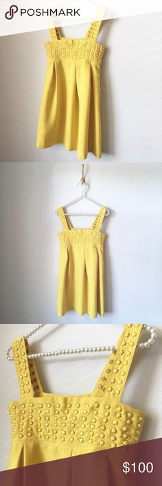 Karta Yellow Studded Dress Adorable Canary Yellow Studded Dress by Karta   Excellent Condition!   ✨Ready to Wear: Professionally dry cleaned.✨  Offers are always welcome & appreciated.💕  Want a private discount? Add it to a bundle (1 item ok). I'll send my best price &/or savings on shipping!✨💰✨  ___________  Give found fashion a forever home.™️ Visit The Foundress often to see if I've found your new favorite thing!💋 Karta Dresses
