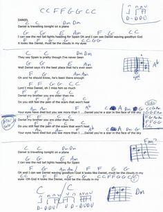 Daniel (Elton John) Guitar Chord Chart