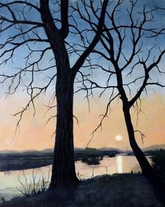 Painting Sunset Goutum by Janet Plantinga, 40 x 50 cm, acrylics on panel