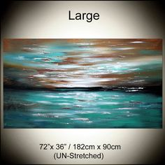 Deep Ocean Turquoise LANDSCAPE Artwork 72 Teal by largeartwork
