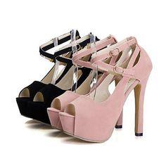 Pumps/Heels ( Couro Envernizado , Preto/Rosa ) Sapatos de Senhora - Salto Alto - 6-9cm – BRL R$ 54,69