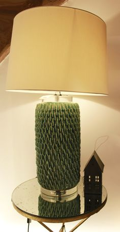 Sitting on the living room side table, this pale blue lamp shade set will add something unique to the home.