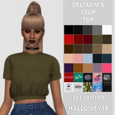 DeltaSim's Crop Top - 35 swatches. - All LOD's.... - HallowSims