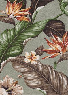 Kahua - Barkcloth Hawaii Fabrics - Tropical Botanical Vintage Hawaiian Fabric - Bark Cloth Upholstery & drapery fabric, Bird of Paradise, Hibiscus, Plumeria, Cotton Hawaiian vintage style fabric. Vintage Floral, Vintage Art, Vintage Style, Tropical Fabric, Vintage Hawaiian, Fabric Birds, Hawaiian Print, Motif Floral, Gravure