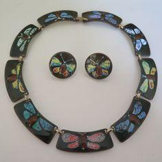 Vtg Signed Kay Denning Copper Enamel Modernist Butterfly Necklace Earrings Set
