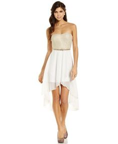 Trixxi Juniors Dress, Strapless Belted High-Low - Juniors Dresses - Macy's
