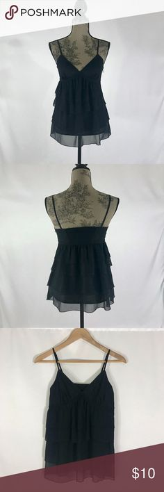 """Express Black Chiffon Layered Tank Top Blouse -Brand: Express Design Studio -Color: Black/Metallic  -Condition: In excellent pre-owned condition. Only Worn once! No rips, tears or stains.  -Product Details: Top is layered in sheer fabric and trimmed in a lace detail along the top. Side zipper and adjustable straps. -Size Type: Regular -Size (Women's): 2 -Material / Care : Polyester/Lurex/Spandex / Hand Wash -MSRP: $49.90  Length (shoulder to hem): 26"""" Chest (armpit to armpit): 14"""" Express…"""