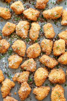 Chicken Bites - The best chicken nuggets you will ever have - crisp-tender and completely homemade with Parmesan goodness!Parmesan Chicken Bites - The best chicken nuggets you will ever have - crisp-tender and completely homemade with Parmesan goodness! Sunday Recipes, Healthy Dinner Recipes, Cooking Recipes, Party Food Recipes, Best Party Food, Healthy Food, Good Food, Yummy Food, Chicken Bites