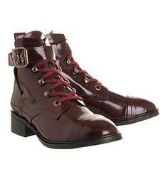 Office Manhunt Lace Up Bordeaux Hi Shine Leather - Ankle Boots