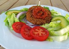 "Instead of using traditional burger buns, which are made with refined white flour and are high in salt, I will eat these veggie burger patties as shown below or halved, in romaine lettuce leaves (making a ""burger boat""). The burger patties also make great leftovers, crumbled onto a green salad or over a baked potato,...Read More »"