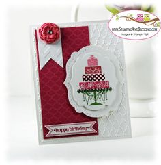 Stampin' UP! Birthday Card  Stampin' Supplies; Stamps: Just Married, Itty Bitty Banners; CS & DSP: Whisper White, Floral District DSP; Accessories: Gumball Green, Melon Mambo,  Raspberry Ripple,  Primrose Petals and Regal Rose Markers, Labels Framelits, Bitty Banners Framelits,  Fancy Fan Embossing Folder, Chevron Embossing Folder, Festive Paper Piercing Pack,  Basic Rhinestones: Simply Pressed Clay*, Buttons & Blossoms Clay Molds*  * New Items available May 31, 2013