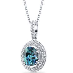 MSRP: $199.99  Our Price: 129.99  Savings: 70.00    Item Number: SP11166    Availability: Usually Ships in 5 Business Days    PRODUCT DESCRIPTION:    Crafted in Fine Sterling Silver, this halo pendant for her features a stunning Simulated Alexandrite with a color that changes hue depending on the light from teal Green to Indigo to Purple to Pink and is surrounded by 2 rows of sparkling machine-cut cubic zirconia and is showcased on an 18 inch box chain. This beautiful pendant offers…