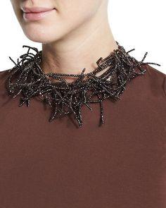 Brunello Cucinelli Beaded Branch Choker Necklace, Burgundy