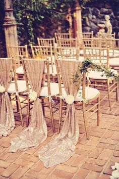 Champagne Chair Sashes sequined