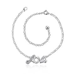 Red Nymph Silver Plated Alloy Anklet with Zircon Love Pendant