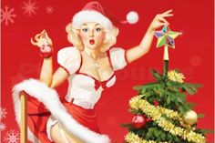 Merry Christmas pin-up girl in Santa hat with Christmas tree