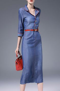 Nordicwinds Blue Sheath Slit Denim Dress With Belt | Shirt Dresses at DEZZAL