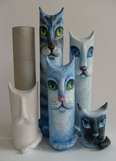 Gulnas' Kunstblog: Katzen, Papprolle, Pappmaché