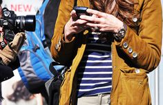 """Love the mustard jacket, the striped tee, the WATCH, and whabam """"mismatched"""" purse."""