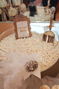 Gold & White Old Hollywood Candy Table by The Candy Brigade.  Photo by Jewel Photo.