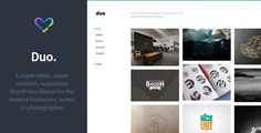 Duo - Minimal Responsive WordPress Theme by LoveThemes  HTML version also available.Duo is a beautiful, minimal, content focused responsive Wordpress theme for the creative freelancer,