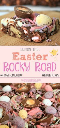 The best Easter Rocky Road recipe ever! Gluten free and tastes f… The best Easter Rocky Road recipe Dessert Sans Gluten, Low Carb Dessert, Gluten Free Desserts, Dessert Recipes, Easter Recipes Gluten Free, Dinner Recipes, Party Recipes, Brunch Recipes, Weight Watcher Desserts