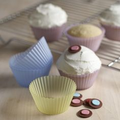 Pastel Colored reusable cupcake cups - great for easter http://rstyle.me/n/f8e29r9te
