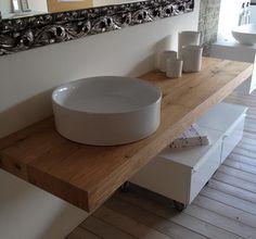 Composizione #bagno Linea AK E45, con #specchio contenitore comprensivo di sistema di illuminazione #base #sospesa con cassetto porta #lavabo e anta dx #lavabo Ginko in appoggio